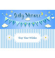 baby boy shower invitation card design template vector image
