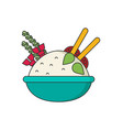 bowl of rice with pair of chopsticks in color vector image vector image
