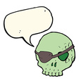 cartoon skull with eye patch with speech bubble vector image vector image