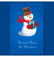 Cheerful Snowman holding a Present Holiday vector image vector image