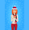 christmas and new year of cute ginger girl in vector image