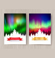 christmas postcard designs with northern lights vector image vector image