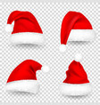 christmas santa claus hats with fur and shadow set vector image vector image