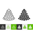 christmas tree simple fir black line icon vector image vector image