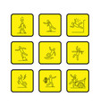 common accidents signs black thin line icon in box vector image vector image