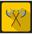 Crossed ancient battle axes icon flat style vector image vector image