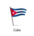 cuba flag on pole infographic element on white vector image vector image