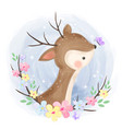 cute deer playing with butterfly vector image vector image