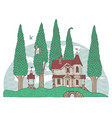 decorative landscape with old house and trees vector image