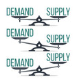 demand and supply balance on scale set vector image vector image