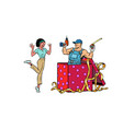 drill worker holiday gift box african woman funny vector image vector image