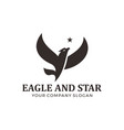 eagle falcon bird logo design with star vector image