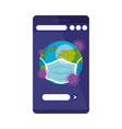 earth planet covid19 using face mask vector image vector image