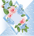 floral background with roses flocks and frame vector image vector image