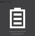 full battery premium icon white on dark background vector image vector image