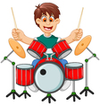 funny boy cartoon playing drum vector image