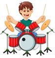 funny boy cartoon playing drum vector image vector image