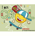 funny emoticon cartoon playing skateboard with vector image