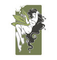 girl smoking cannabis for your logo label vector image
