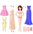 girl with evening dresses vector image