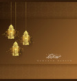 greeting card ramadan kareem with lantern vector image