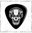 guitar mediator with horned skull in headphones vector image vector image