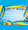 holiday banner with rainbows and flags vector image vector image