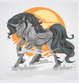 horse black unicorn with sun background and smoke vector image vector image