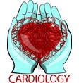 human heart in his hands vector image vector image