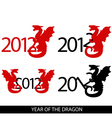 image 4 variations with year 2012 and dragon vector image vector image