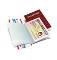 international passport with colombia visa vector image vector image
