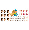 isometry stewardess girl set emotions creation vector image