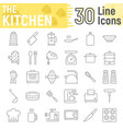 kitchen thin line icon set household signs vector image vector image