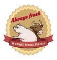 McCoil Meat Farm label - Always fresh vector image vector image
