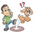 mean boy kicking a dog vector image