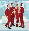 men and woman in red celebrate new year in office vector image vector image