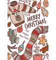 merry christmas greeting card with congratulation vector image vector image