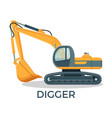 modern digger with round cabbint and huge ladle vector image vector image