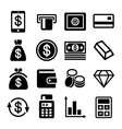 Money and bank icon set vector image
