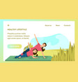 mother and daughter doing yoga sport city park vector image