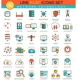 Network technology flat line icon set vector image vector image