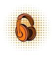 orange headphones comics icon vector image vector image