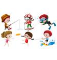 people doing different outdoor activities vector image vector image