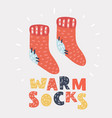 red knit wool socks vector image
