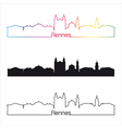 rennes skyline linear style with rainbow vector image vector image
