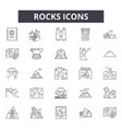rocks line icons signs set linear vector image vector image