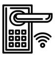 smart door lock icon outline style vector image