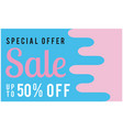 special offer sale up to 50 off blue pink backgro vector image vector image