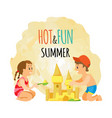 summer beach girl and boy building sand castle vector image vector image