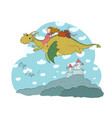 the princess is flying on a dragon queen and vector image